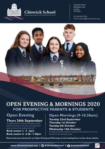 Chiswick School Open Eve & Mornings Flyer 2020 FINAL