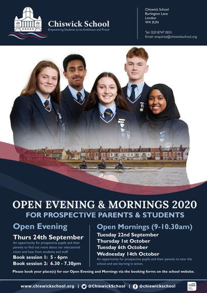 Chiswick School Open Eve & Mornings Flyer 2020 FINAL