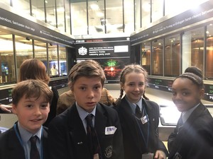 Students inside the Stock Exchange