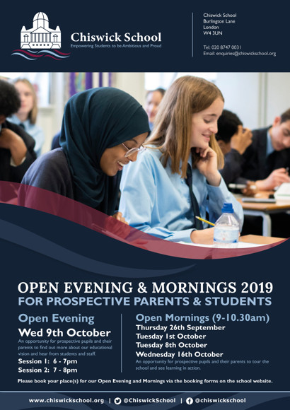 Chiswick School Open Eve & Mornings Flyer 2019 FINAL